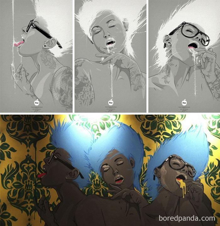 The Original Of Polish Artist Adrian Knopik (Top) And Rashidi Barrett's Version (Bottom)