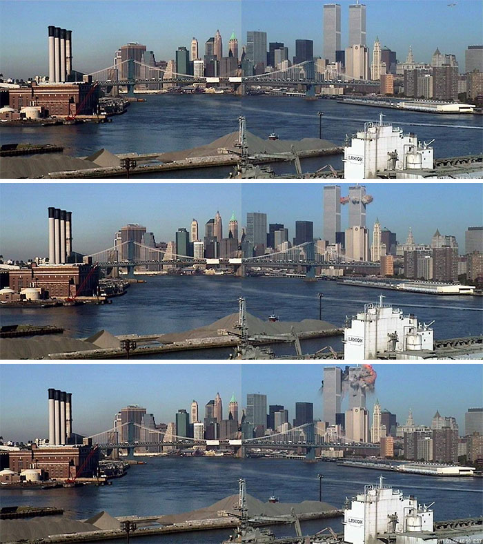 American Airlines Flight 11 (Visible In The Upper Right-Hand Corner Of The Photo) Approaches The North Tower Of The World Trade Center On September 11, 2001