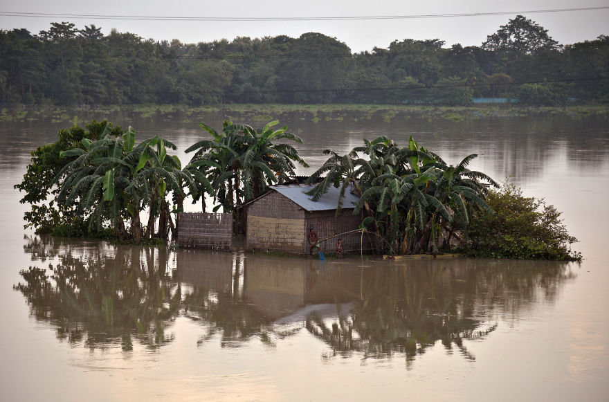 A Man Casts His Fishing Net In The Flood Waters Next To His Partially Submerged Hut In The Northeastern Indian State Of Assam
