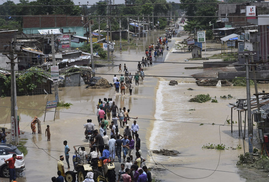 Flood-Affected Villagers Move Out In Search Of Safer Places In Bihar, India