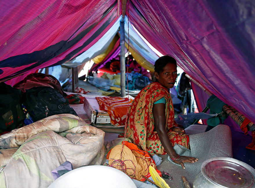 A Flood Victim Takes Refuge Inside A Temporary Shelter After Camping At A Safe Location In Saptari District, Nepal