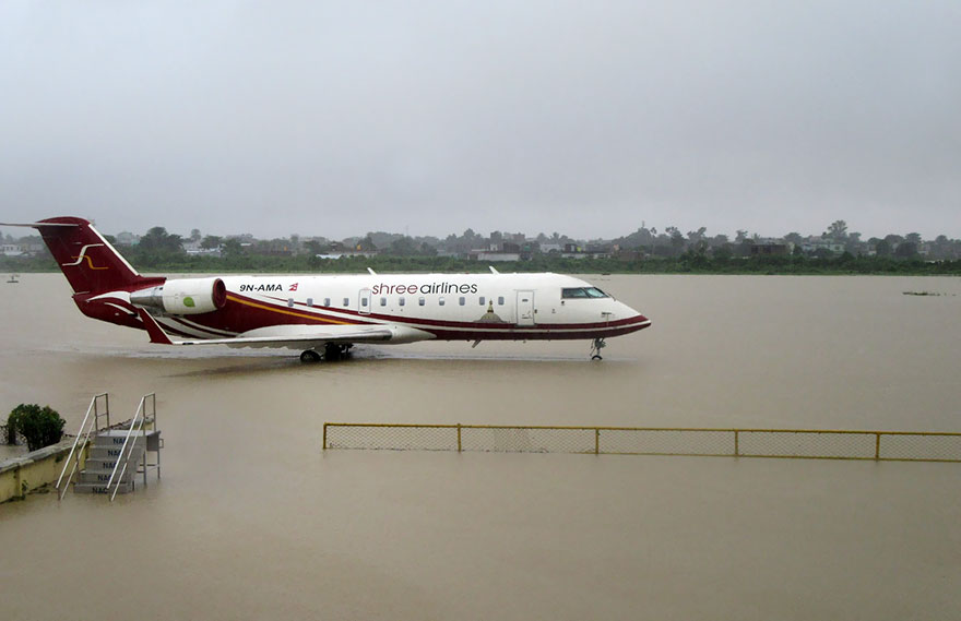 The Flooded Apron Of Biratnagar Airport After Heavy Rains, 240km From Nepal's Capital Kathmandu