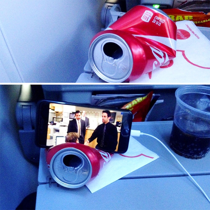 I Made An Impromptu Coke Can Phone Stand For The Long Flight Home