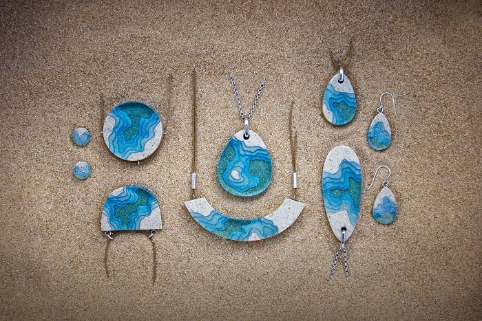 Our Aqua Jewelry Collection Has Been Crafted From Compacted Beach Sand And Resembles Unique Landscapes Of The Ocean