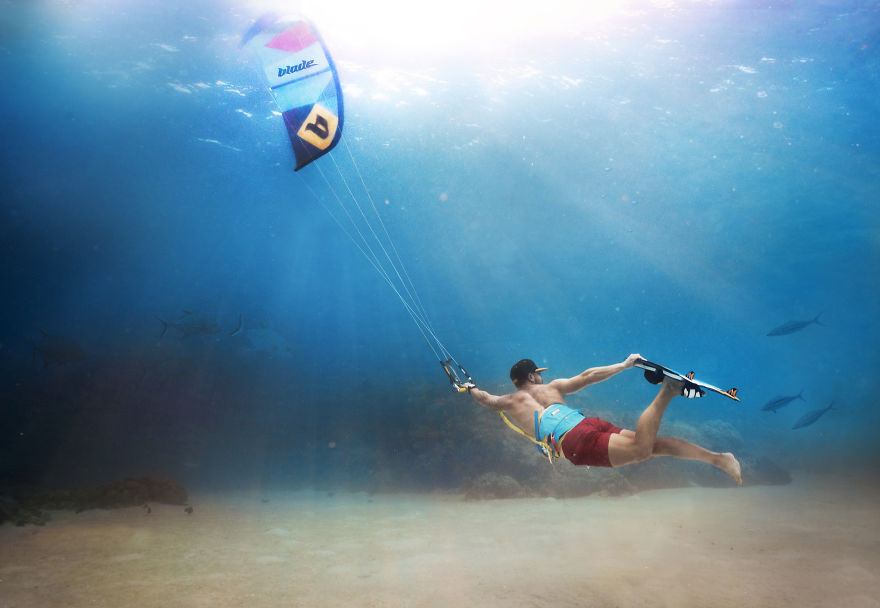 Kitesurfing Deep Under The Ocean