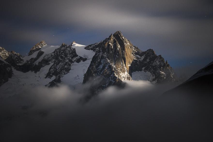 Mont Gruetta At Moonlight