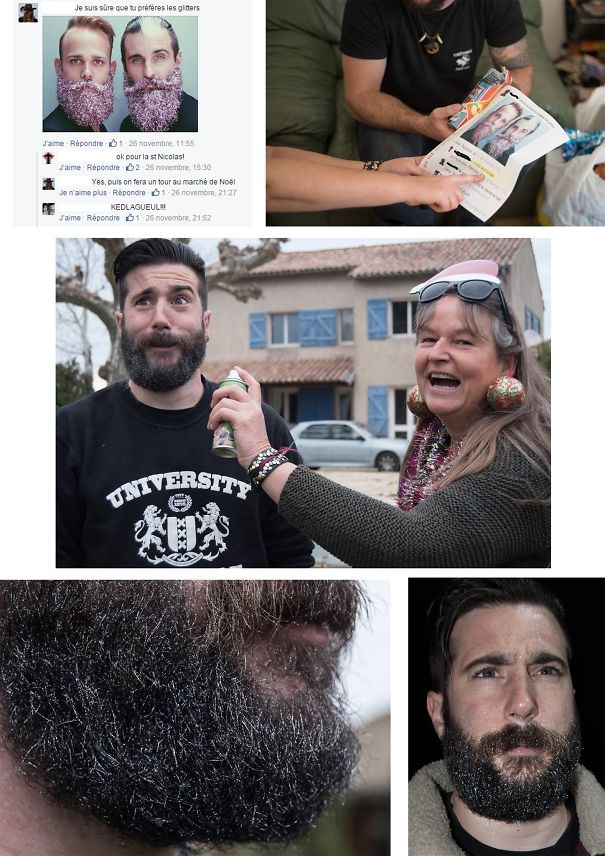 """In November On Facebook My Mom Asked My Husband If He Dares To Wear Glitters In His Beard. He Answered """"Ok, For Christmas"""" And She Callenged Him To Go To The Xmas Fair With It. On Christmas She Had Printed The Screenshot And Offred Him A Glitter Bomb. Annnnnnd They Did It."""