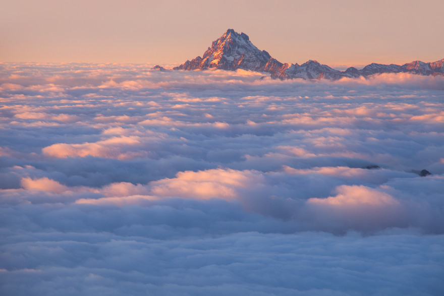 Monviso Emerging From The Clouds