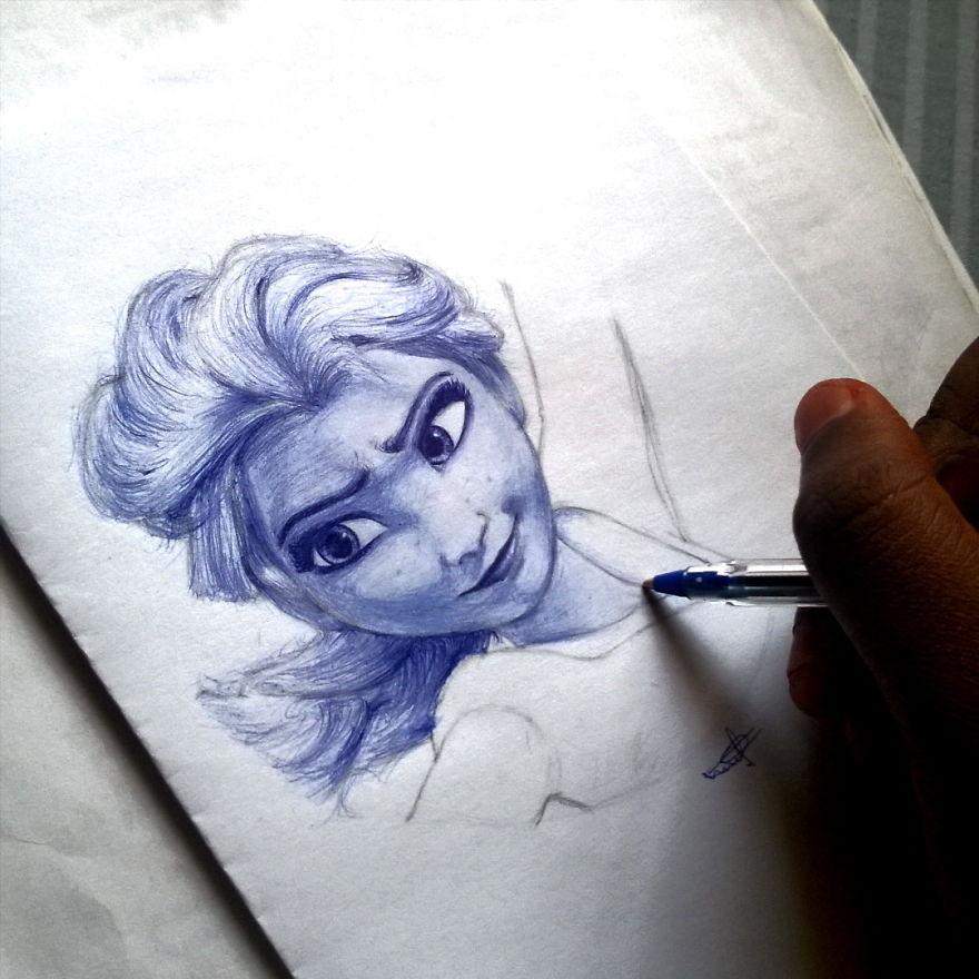 Nigerian Artist Creates Hyper Realistic Pop Culture Drawings With Ballpoint Pen