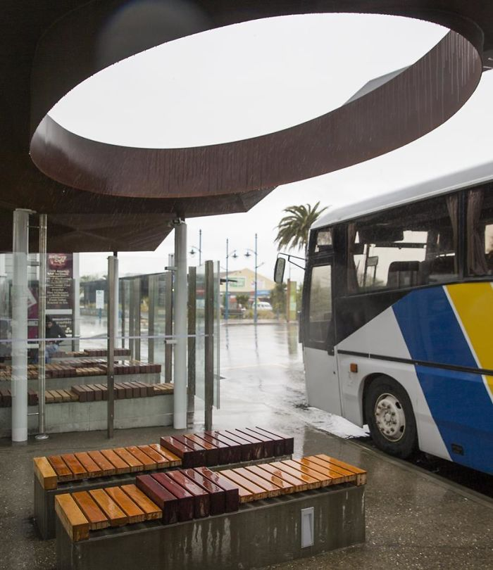 Bus Shelter At A Railway Station