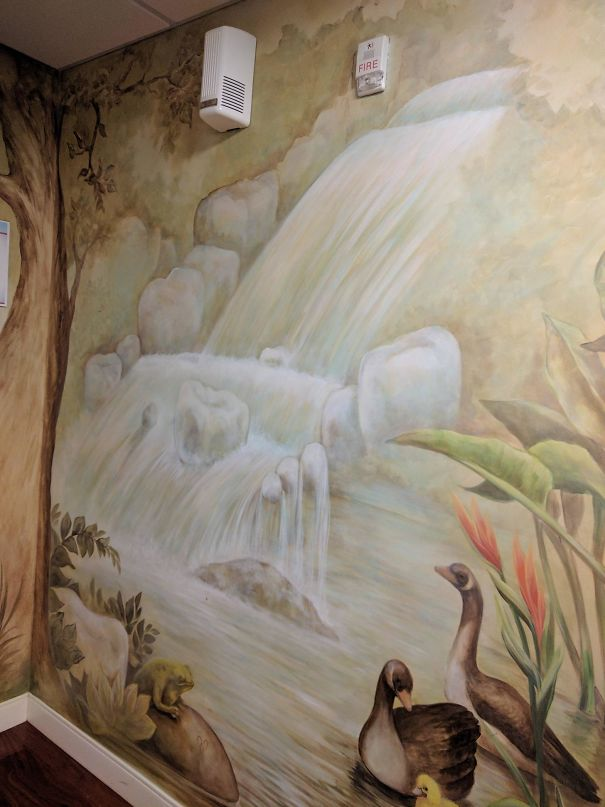 This Painting At The Dentist Office Shows Teeth As Rocks In A Waterfall