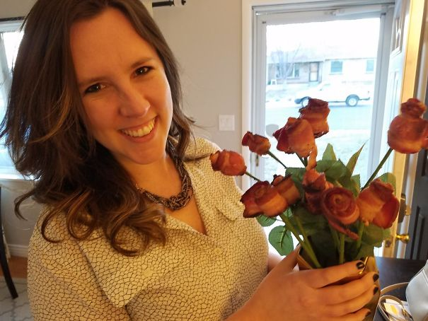 I Made Bacon Roses For My Wife