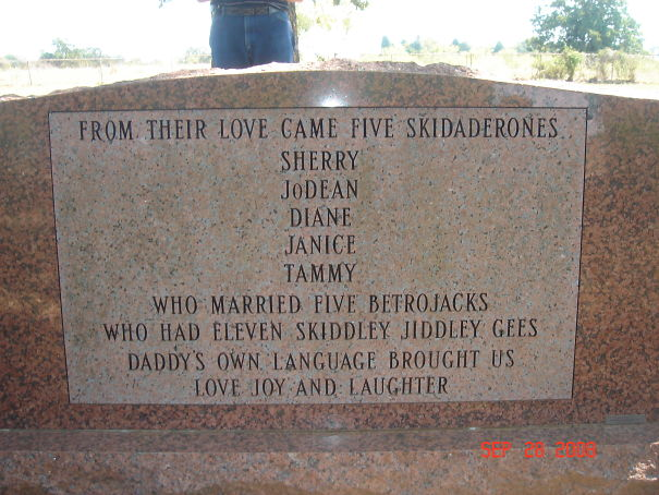 Daddy's Own Language On A Headstone