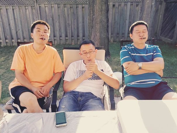 """I Got My Dad And Uncles Some Fine Cigars From Europe And They Wanted Me To Take A """"Gangsta Photo"""" Of Them Smoking. I Told Them Asian Dads Can't Pull That Off"""