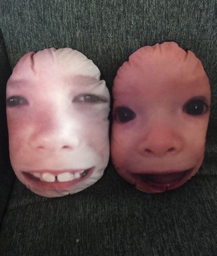 Las caras de mis sobrinos en cojines para el día de la Madre fue un gran regalo, en teoría