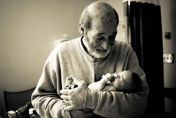 Grandfather Meets Grandson For The First Time