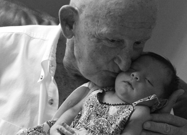 My Grandfather Holding His Great-Granddaughter For The First Time
