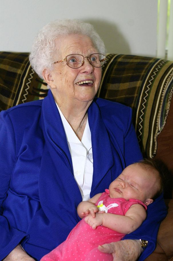 My Daughter With Her Great-Great-Grandmother. One Born In 2013, The Other In 1913