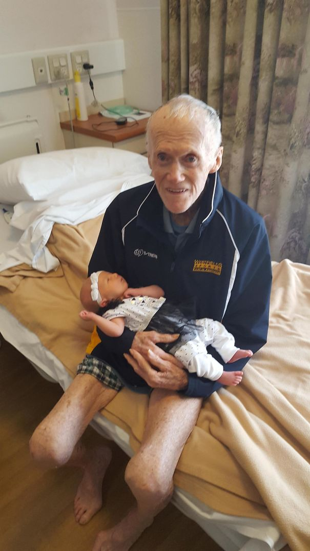 Great-Grandfather At 93 With My 2-Week-Old Daughter