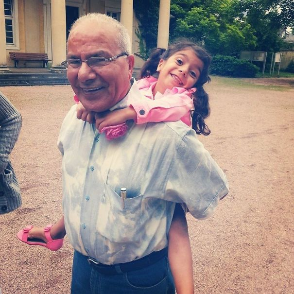 After Three Years Of Surgeries To Correct A Congenital Heart Defect Including A Berlin Artificial Heart Implant And A Heart Transplant, My Niece Is Finally Healthy Enough For International Travel. Here She Is Meeting Her Grandpa In Germany For The First Time
