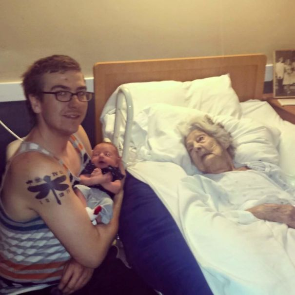 My Great-Grandmother Meeting Her Great-Great-Grandson For The First Time, Days Before Passing Away. Miss You, Gramma