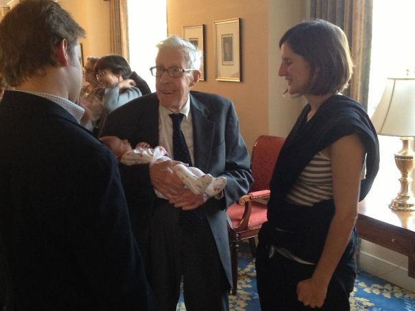 My Grandfather, At My Grandmother's Funeral, Holding His Great-Granddaughter For The First Time