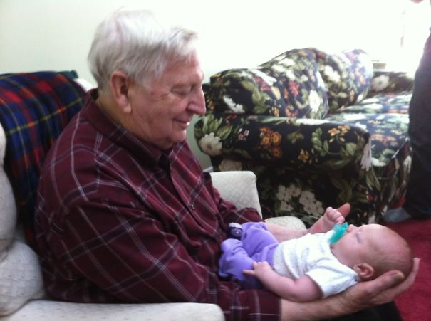 My Grandfather Holding His First Great-Granddaughter. His Smile Is Priceless