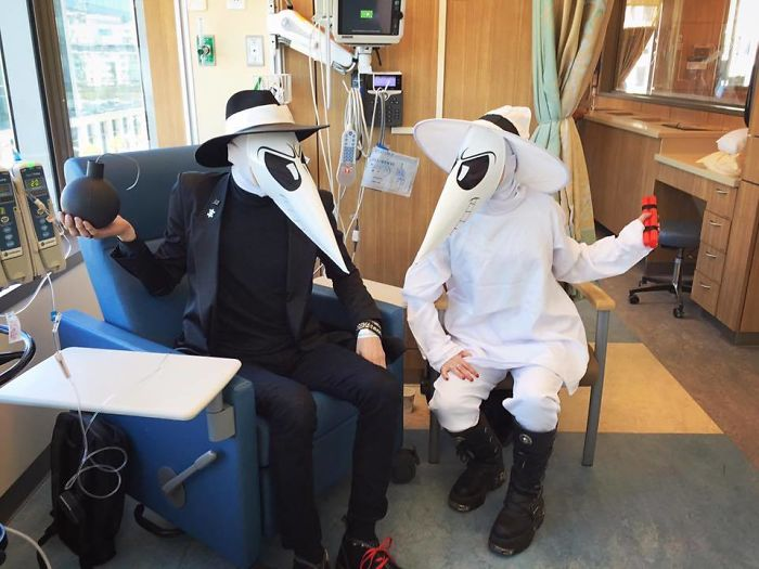 Even Cancer Can't Stop Halloween - A Friend Getting Chemotherapy In Costume