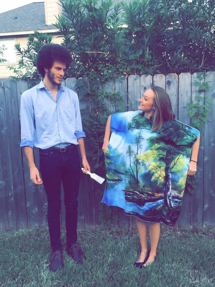 My Boyfriend And I Decided To Go As Bob Ross And His Painting For Halloween This Year! Yes, That's His Real Hair