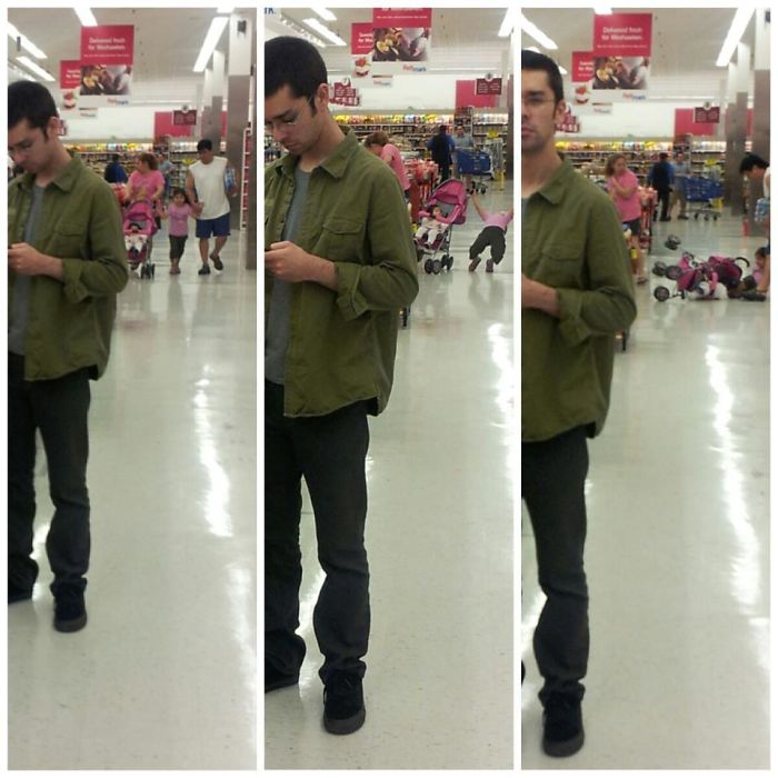 My Girlfriend Randomly Took A Couple Pictures Of Me At The Grocery Store. Only Later Did We Notice...