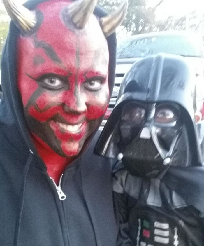 "I Beat Cancer This Year And Lost My Hair In The Process. My 4 Year Old Son Wanted To Be Darth Vader For Halloween So I Surprised Him As Darth ""Mom"""