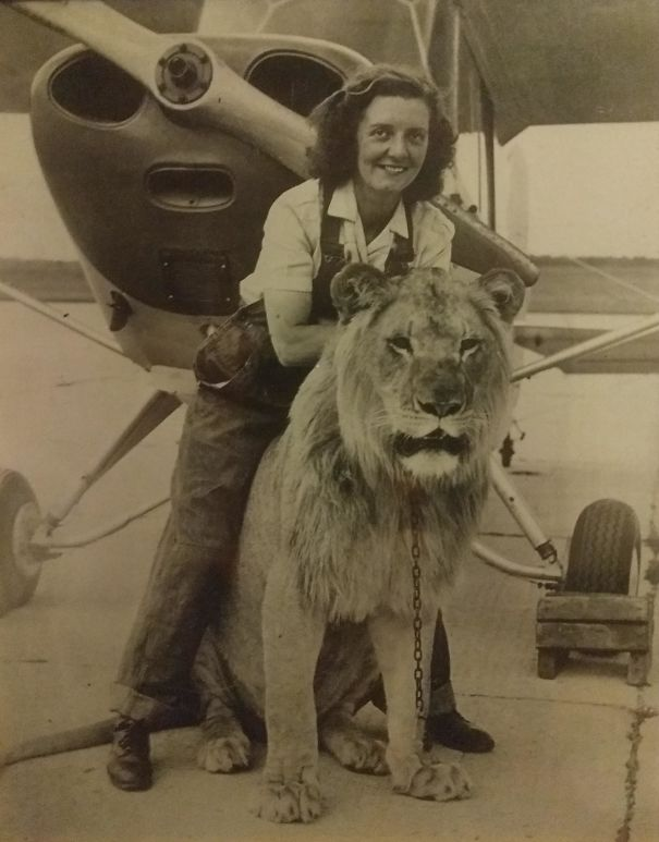 My Grandmother With Sultan, Her Favorite Lion From Her Troop, In Front Of Her Plane She Flew Just After WW2. 1947