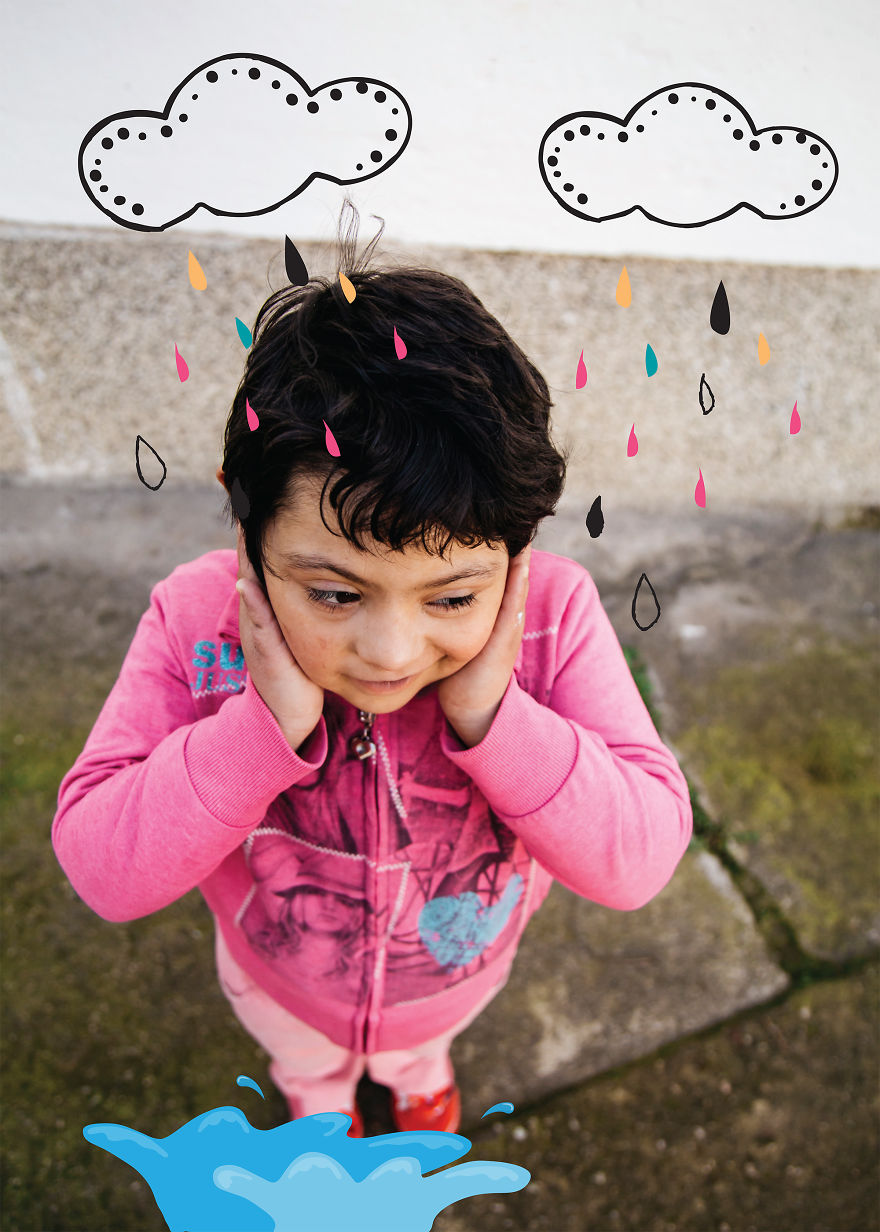 Kostadinka Likes Rain And Colorful Umbrellas. Favorite Fun - Jumping In The Puddle; Down Syndrome