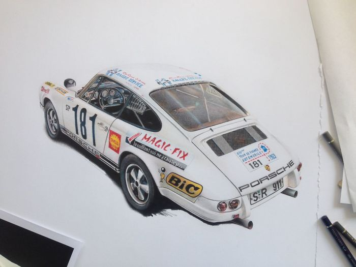Fully Detailed Porsche 911 Classic Car Automotive Art By London Based Artist Steel Mesh