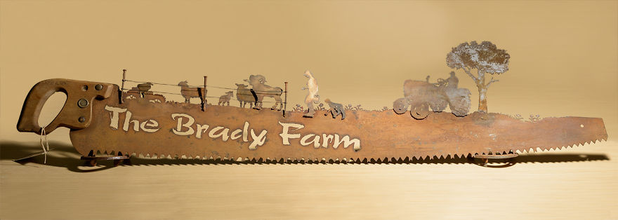 This Family Saw Depicts Their Mom Tending The Sheep And Dad On A Tractor
