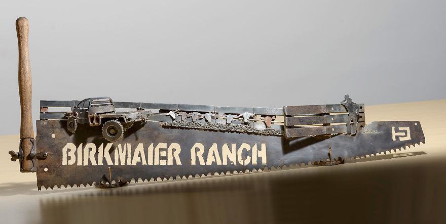 A Custom Ranch Scene - With The Old Truck, Some Cattle And Farmer - And Their Brand At The End