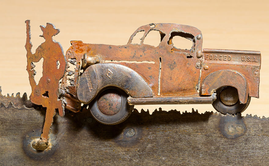 The Old Truck Was Made With Scrap Metal, Wrenches And Other Parts