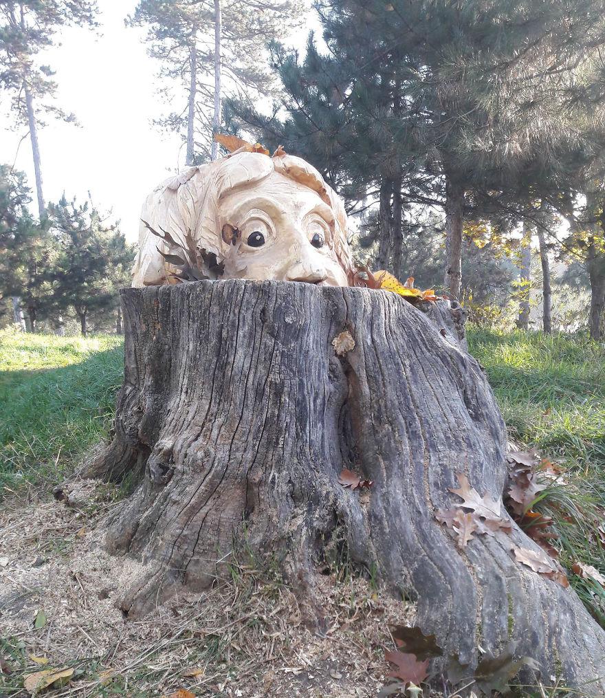 Chainsaw carved tree spirit