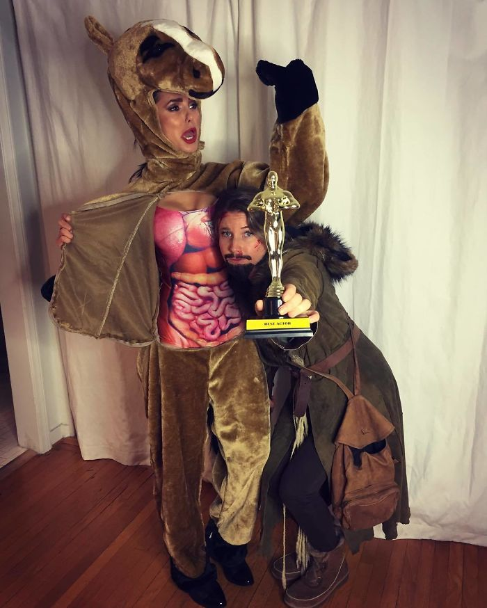 Nina Dobrev And A Friend As Leonardo Dicaprio And The Horse From The Revenant