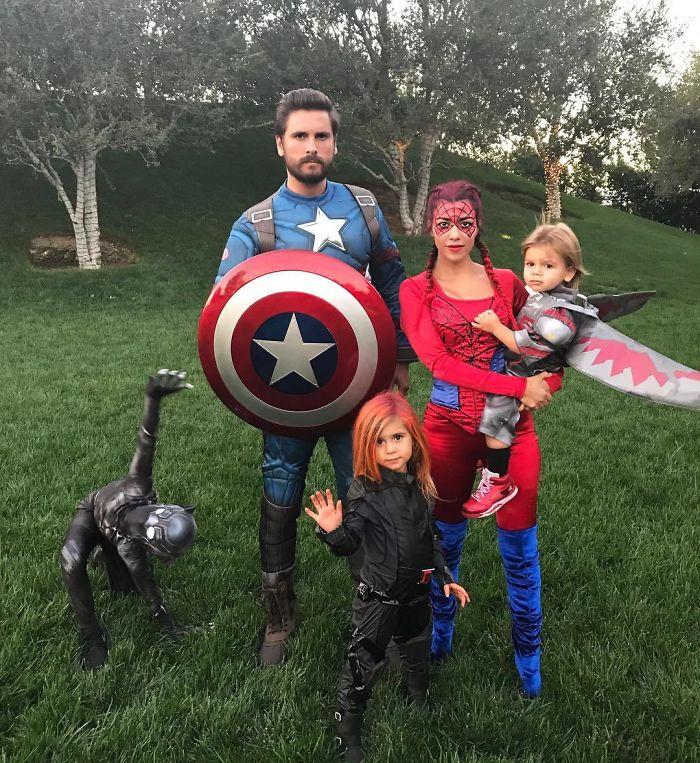Kourtney Kardashian, Scott Disick, Mason, Penelope, And Reign As Marvel Superheroes