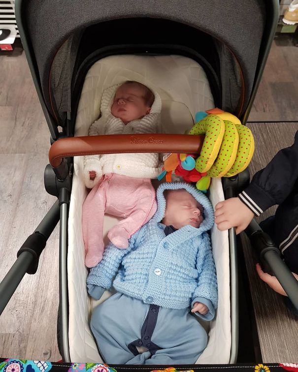 When You Rush Out Of The House To Try And Get Everything Done Before The Next Feed Is Due And Forget The Car Seat Connectors For The Pram And Only Have One Bassinet In The Boot... You Have To Improvise!