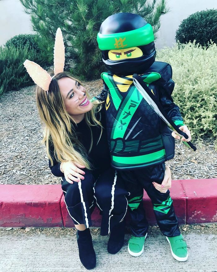 Hilary Duff And Luca Comrie As A Bunny And A Lego