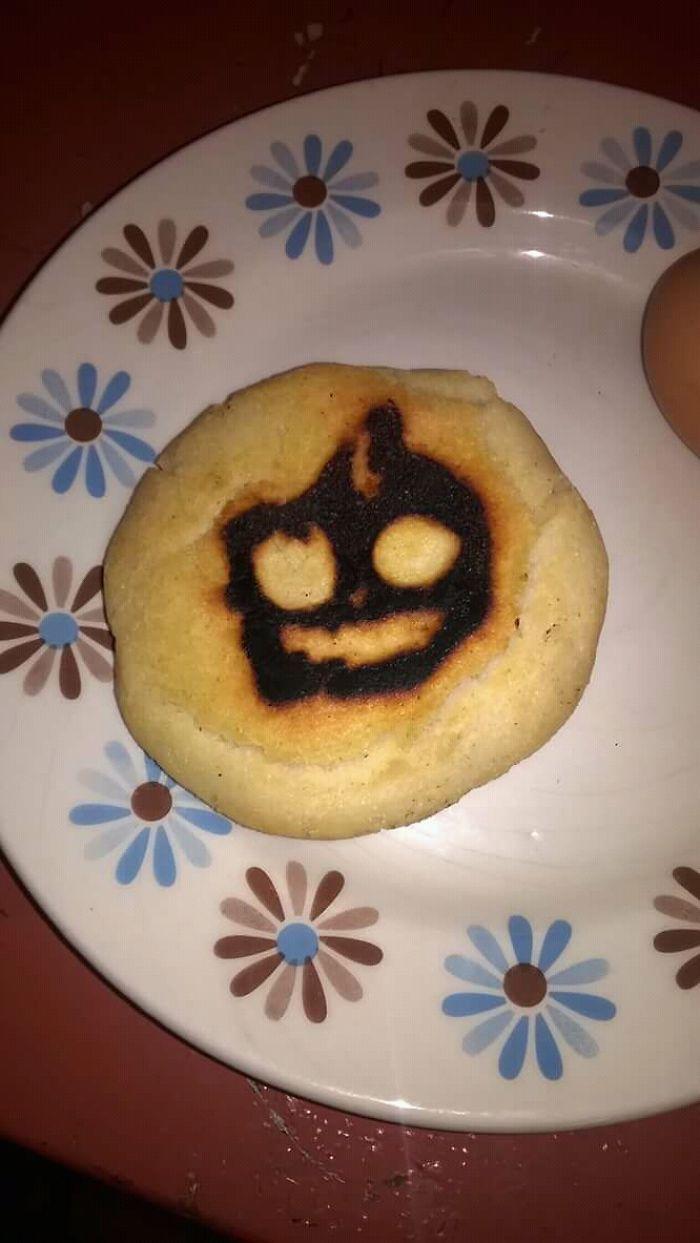 Making Breakfast This Morning, Random Halloween Pumkin Appears On My Arepa