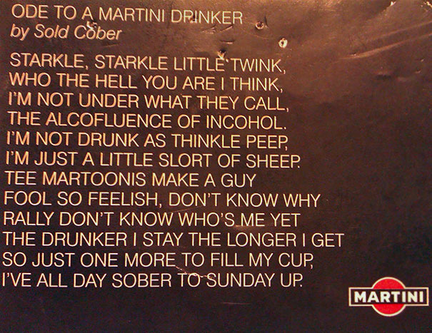 Mother-In-Law Found This On A Martini Bottle 30 Years Ago. She Makes Us Read It When She Thinks We're Drunk