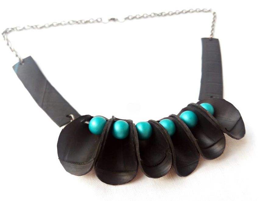 Coding Upcycle Inner Tube Necklace