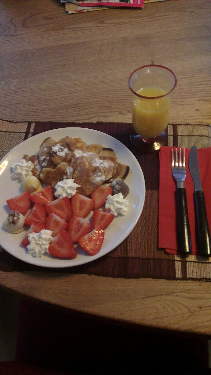 Heart Shaped Pancakes And Fresh Strawberries As My Anniversary Breakfast From My Husband :d.