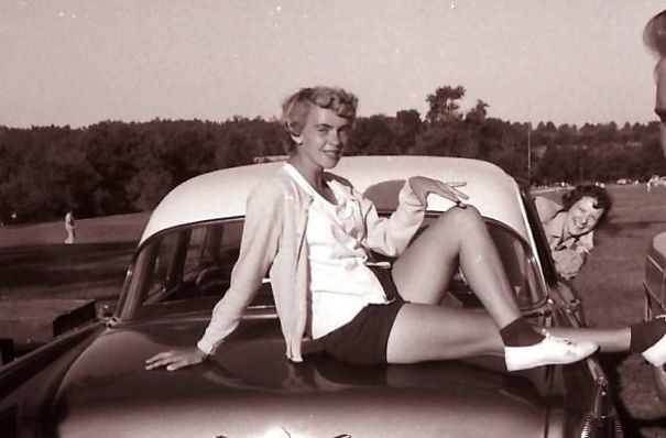 Grandma Posing On The Car