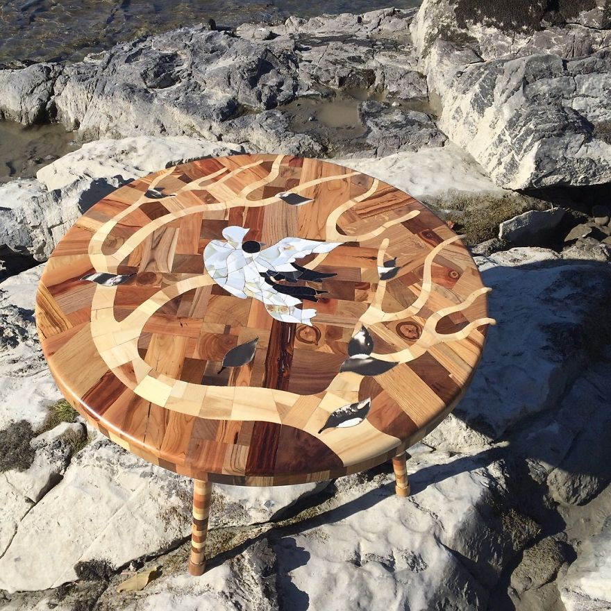 I Used 12 Different Woods To Make This Nature-Inspired Table In One Month