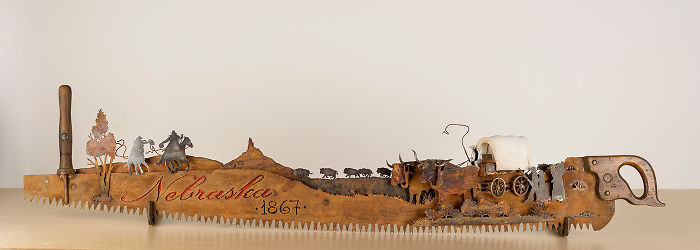 This Is A Saw Made To Commemorate Nebraska's 150 Birthday! Complete With The Pony Express, Chimney Rock, Bison And A Covered Wagon
