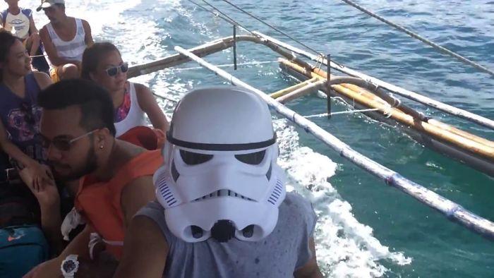 I Trekked Mount Pundaquit In Zambales, Philippines Wearing A Stormtrooper Helmet